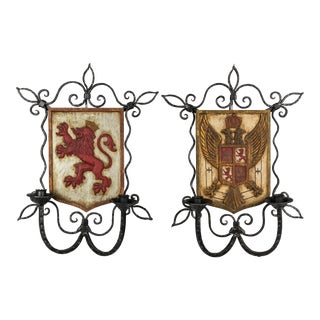 French Wrought Iron Candle Sconces - a Pair For Sale