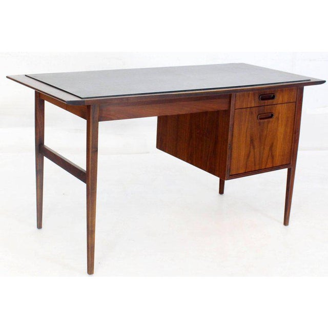 Medium Small Danish Mid-Century Modern Oiled Walnut Desk With Slate Top For Sale In New York - Image 6 of 11