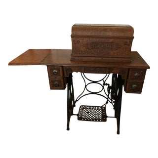 Antique Rare 1880 Tiger Oak Sewing Desk For Sale