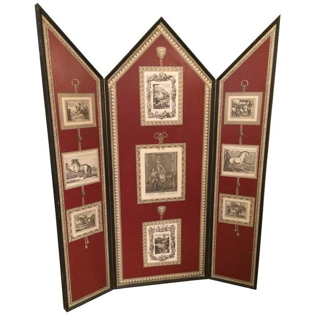 Wood Graphic Fornasetti Style 3 Panel Screen For Sale - Image 7 of 7
