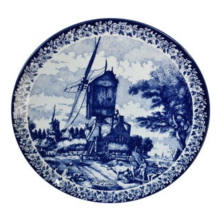 1980s Traditional Blue Delft Wall Plate For Sale