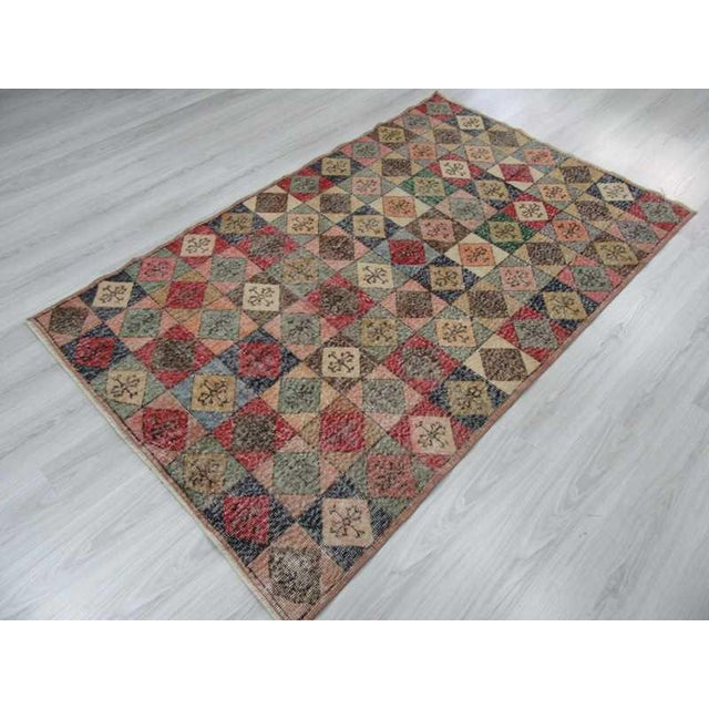 Vintage Turkish Colorful Deco Rug - 4′5″ × 7′2″ For Sale - Image 5 of 6