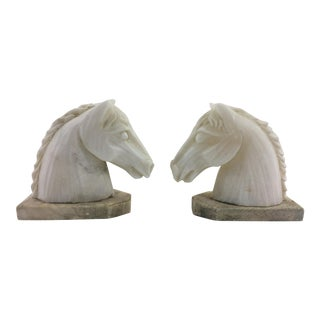 1940s Vintage French Alabaster and Marble Horse Head Bookends - a Pair For Sale