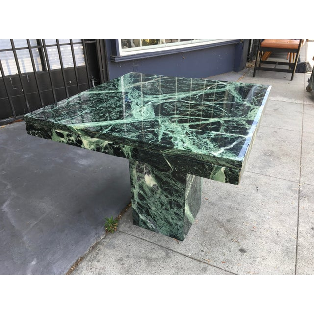 1970s Italian Verde Green Marble Side Table For Sale - Image 4 of 10