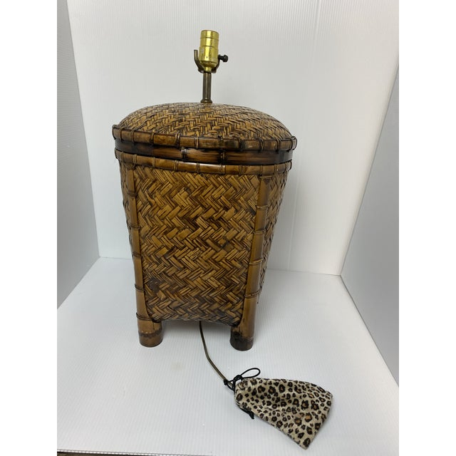 Shabby Chic Vintage 1970s Woven Rattan Table Lamp For Sale - Image 3 of 7
