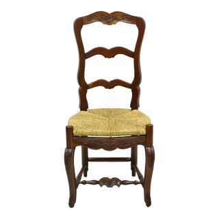 Vintage Mahogany Ladder Back French Country Rush Seat Hoof Feet Dining Side Chair For Sale