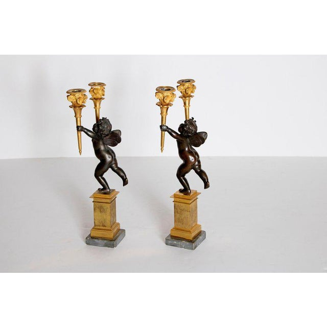 Pair of French Charles X Patinated Bronze and Gilt Figurative Candelabras For Sale - Image 9 of 13
