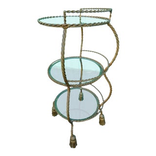 Mid-20th Century Italian Gold Tassel 3-Tiered Shelf