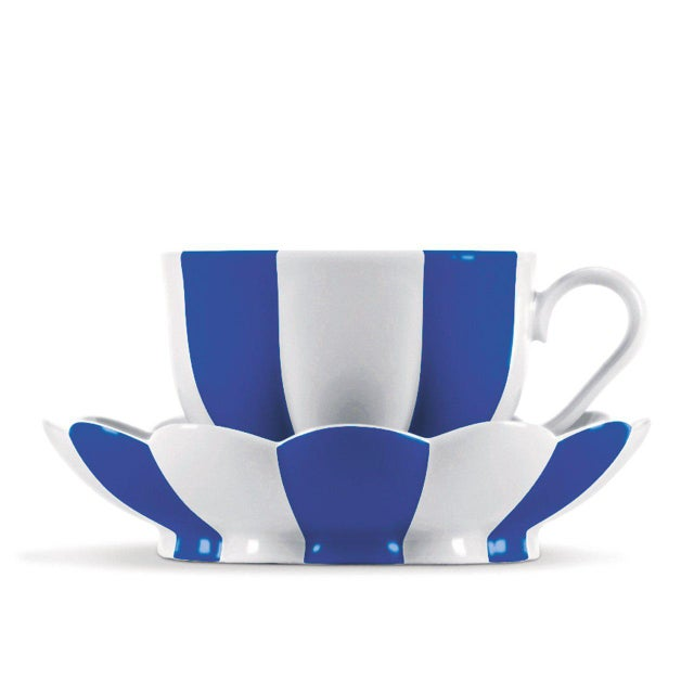 """Traditional """"Melon"""" Mocha Cup with Saucer by Josef Hoffmann Light Blue For Sale - Image 3 of 10"""