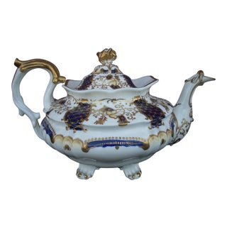 Mid 19th Century Antique Gaudy Welsh Teapot For Sale