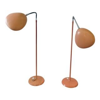 1950's Flamingo Pink Gerald Thurston for Lightolier Adjustable Gooseneck Reading Floor Lamps - a Pair For Sale