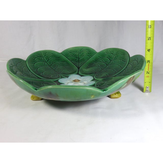1880s Large Antique Majolica Footed Serving Bowl For Sale - Image 11 of 13