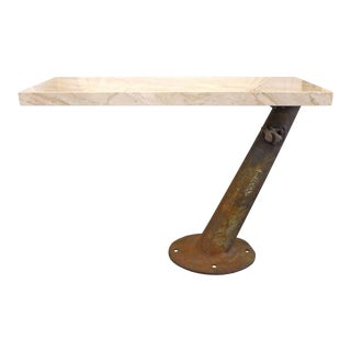 Cantilevered Travertine and Cast Iron Console For Sale