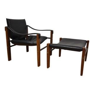 Arkana Leather Safari Lounge Chair & Ottoman - A Pair