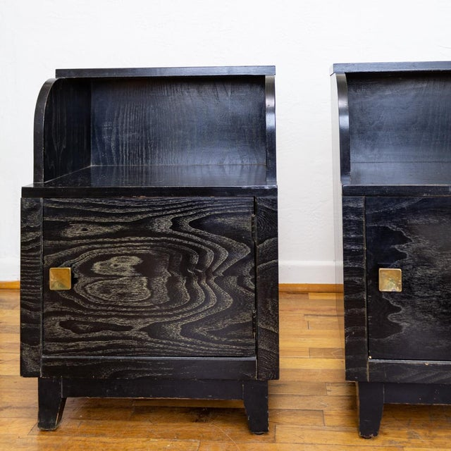1940s Mid Century Nightstands | Black and Brass | Huntley Furniture For Sale - Image 5 of 13