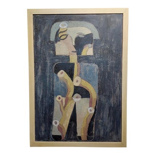 """The Thinker"" Abstract Oil Painting by Miguel Castro Lenero For Sale"