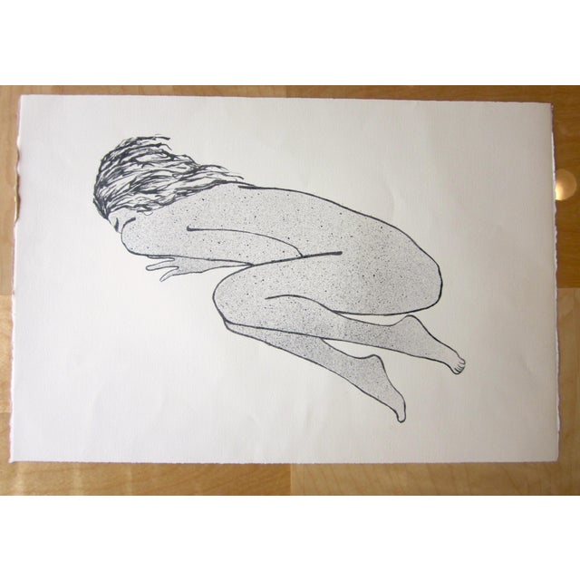 This is a vintage original black and white stone lithograph aquatint done on cotton rag fine art paper by Chicago artist...