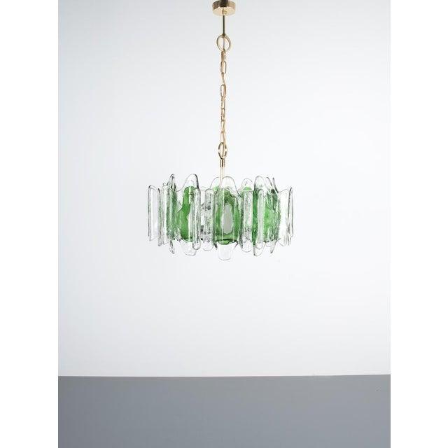 "J.T Kalmar Chandelier Fixture With Murano Glass Brass, Austria 1960. Beautiful 20.5"" ceiling lamp featuring heavy slabs..."