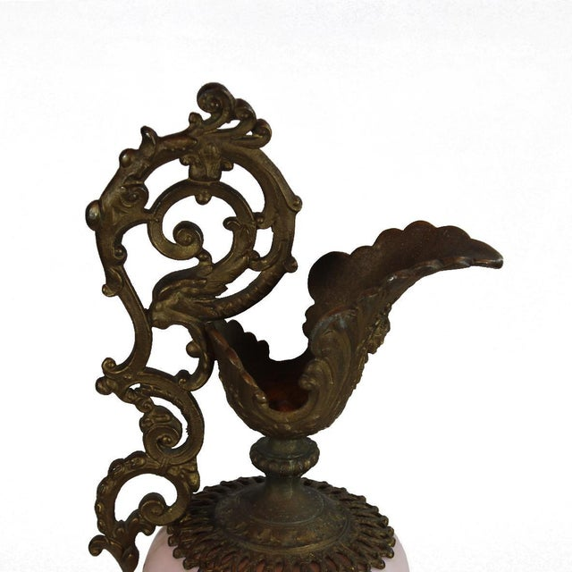 Pasargad DC Bronze Porcelain Painted With Gold Garlands Ewer Urn For Sale - Image 4 of 7