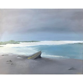 """""""Beached"""" Contemporary Coastal Seascape Acrylic Painting For Sale"""