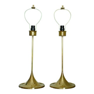 Swedish 1960's Bergboms Brass Lamps - A Pair For Sale