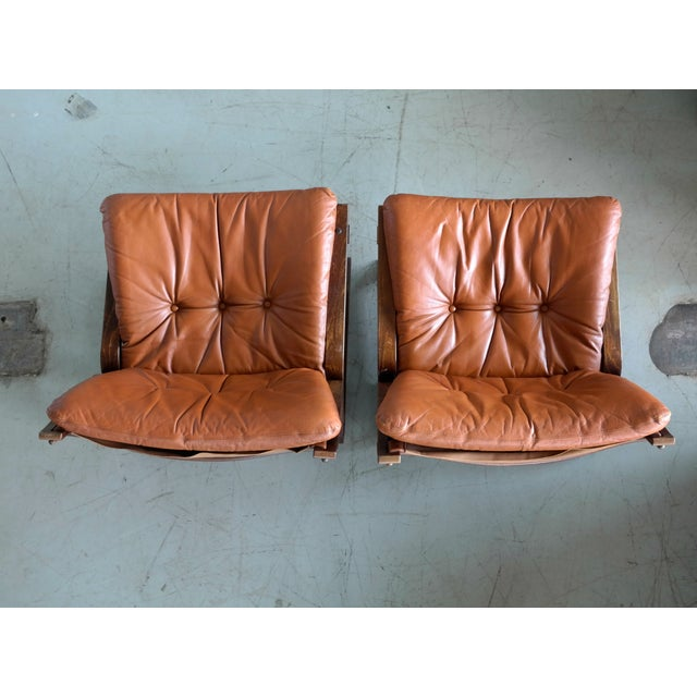 Animal Skin Pair of Mid-Century Norwegian Easy Chairs in Cognac Leather by Oddvin Rykken For Sale - Image 7 of 10