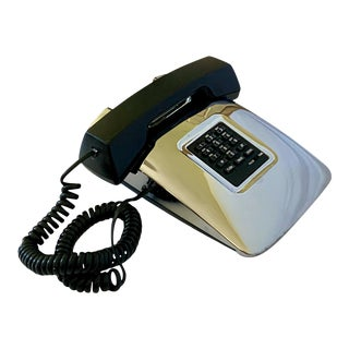 1980s Modern Design Chrome Finish Phone For Sale