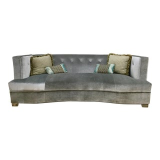 Contemporary Grey Velvet Buttoniere Sofa For Sale