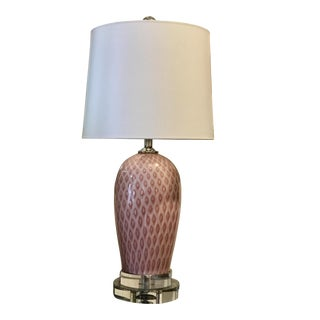 Vintage Pink Vetri Murano Glass Table Lamp