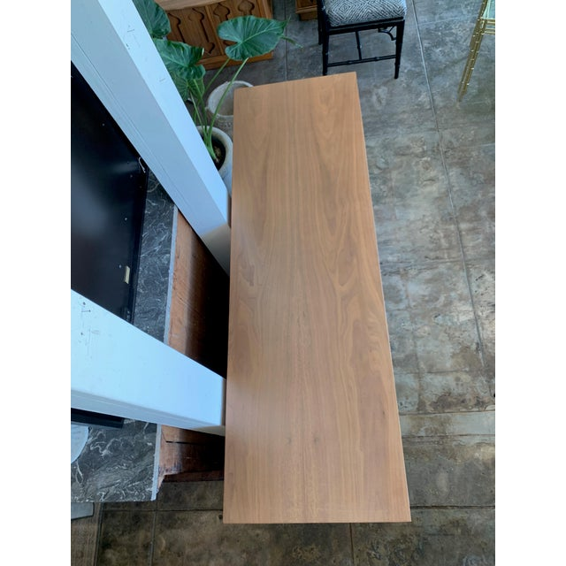 """Wood Mid-Century Modern Low Walnut Credenza Cabinet Carved """"Spade"""" Fruit For Sale - Image 7 of 9"""
