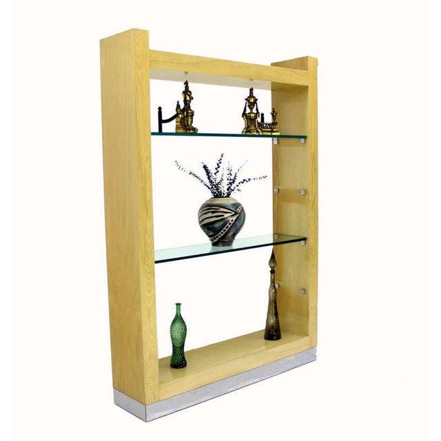 Glass Large Mid Century Modern Shelving Unit Etagere Cerused Oak For Sale - Image 7 of 7