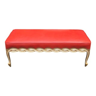 Regency Style Leather Ribbon Bench by Randy Esada Designs for Prospr For Sale