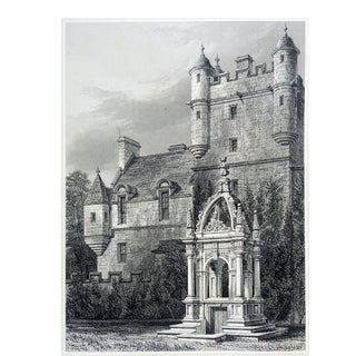 Circa 1860's Castle & Crypt Etching