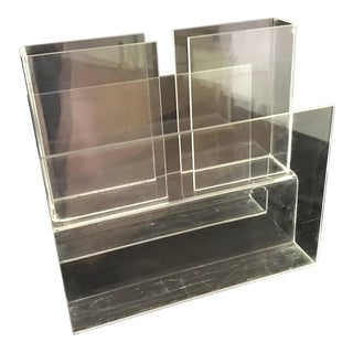 Vintage Mid Century Modern Minimalist Lucite Acrylic Three Compartment Magazine Rack For Sale