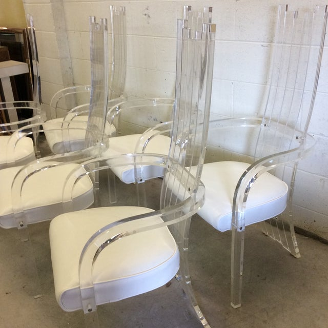 Modern Lucite Tall Back Dining Chairs - Set of 6 For Sale - Image 3 of 12