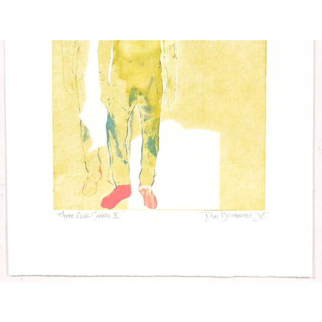 """Contemporary Rob Delamater """"Those Pink Sneaks X"""" Figurative Monotype in Yellow, 2015 2015 For Sale - Image 3 of 4"""