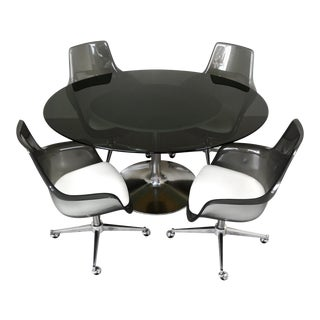 Chromcraft 5 Piece Dining Set With Oval Smoked Glass Table Top and Smoked Lucite Tulip Chairs For Sale