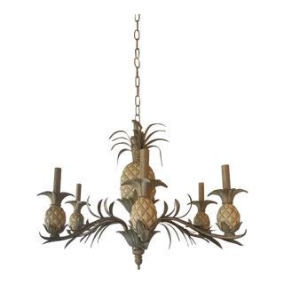 Vintage Pineapple Metal Tole Chandelier 6 Lights For Sale