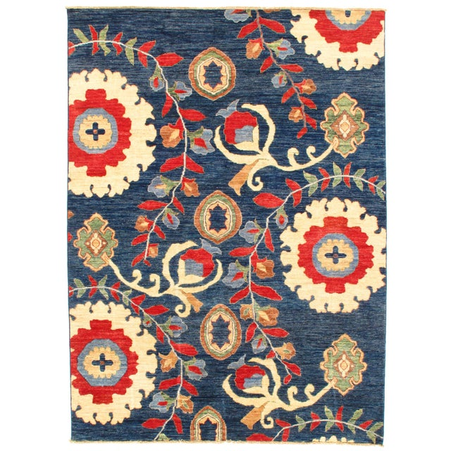 """2010s Pasargad N Y Suzani Design Lamb's Wool Rug - 5'7"""" X 7'6"""" For Sale - Image 5 of 5"""