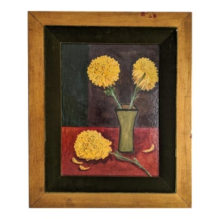 Vintage Oil Painting of Yellow Flowers in Beautiful Gold Frame on Green Velvet