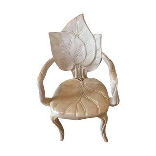 Art Nouveau Leaf Sculpture Chair For Sale