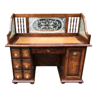 Vintage Apothecary Desk W Labeled Drawers & Etched Glass