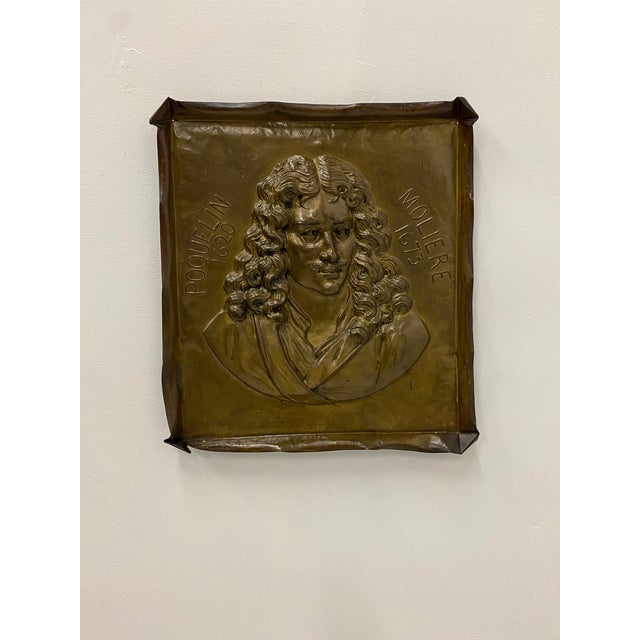 Gold Handmade Brass Plaque of Poet Moliere For Sale - Image 8 of 8
