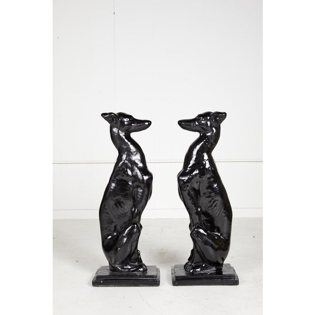 Vintage Pair of Art Deco Style Whippet Statues For Sale - Image 4 of 13