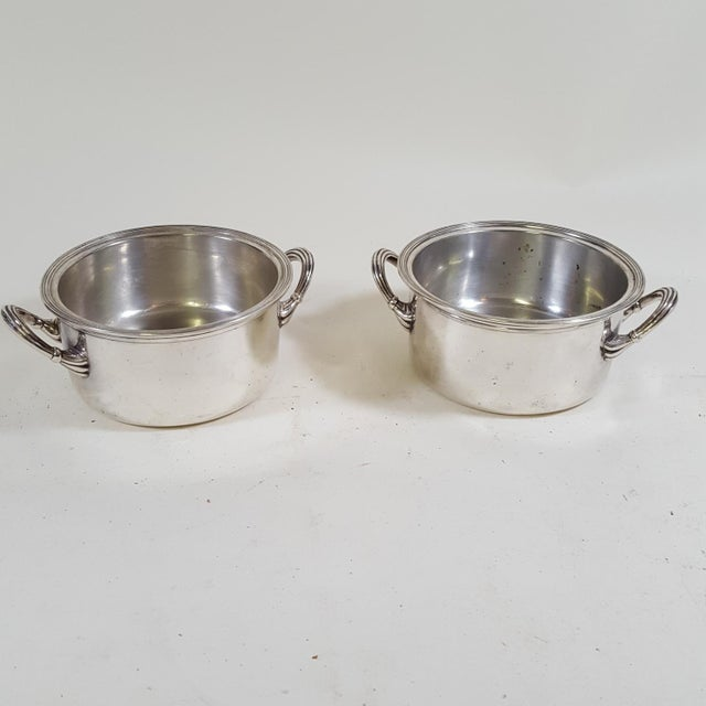 Silver 1920s Art Deco Warming Serving Dishes - a Pair For Sale - Image 8 of 8