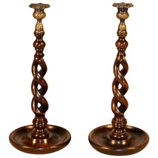 19th Century Open Twist Candlesticks - a Pair For Sale