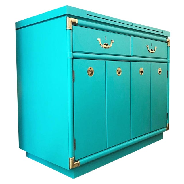 Drexel Furniture Campaign Mid-Century Server or Buffet For Sale