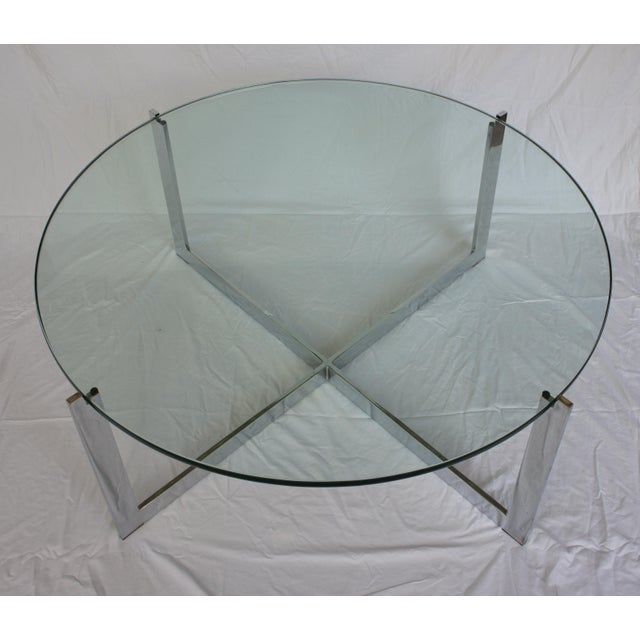 Milo Baughman Chrome & Glass Round Coffee Table For Sale - Image 7 of 11