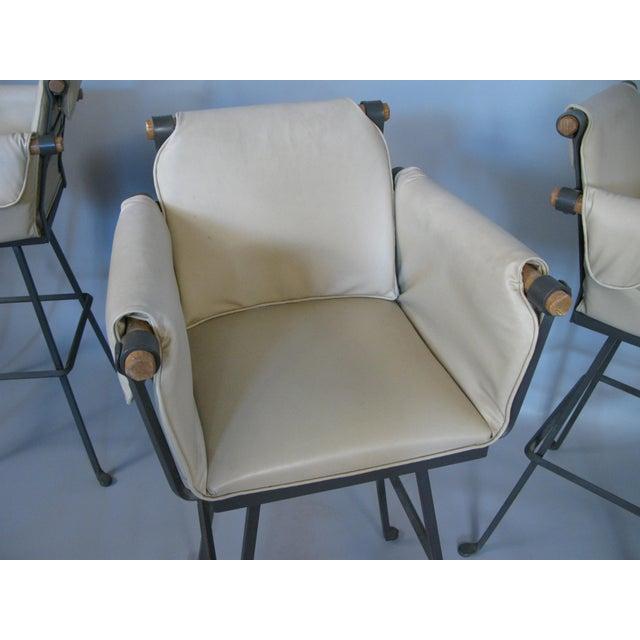 White Cleo Baldon Iron & Oak Swivel Barstools - Set of 4 For Sale - Image 8 of 10