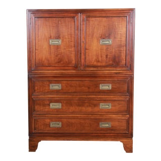 Baker Furniture Burled Walnut Hollywood Regency Campaign Style Gentleman's Chest For Sale